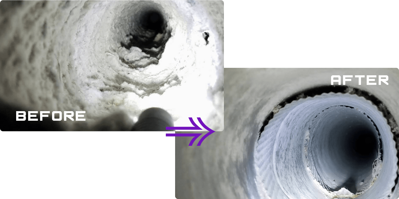 before after dryer vent cleaning